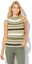 New York & Co. Ribbed-Sweater Mock-Neck Shell - Stripe