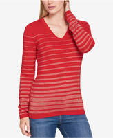 Tommy Hilfiger Striped Metallic Sweater, Created for Macy's