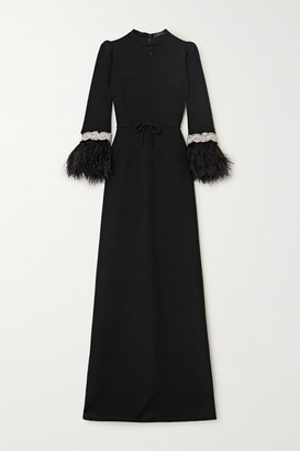 Andrew Gn Feather-trimmed Crystal-embellished Crepe Gown - Black