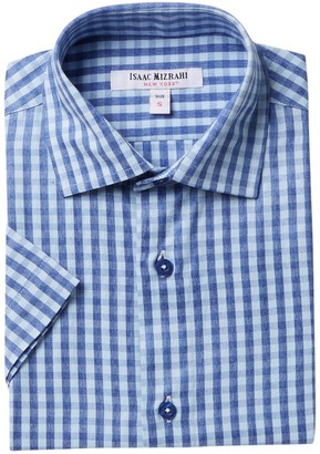 Isaac Mizrahi Gingham Short Sleeve Button Down Shirt (Little Boys & Big Boys)