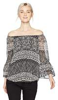 Amy Byer A. Byer Junior's Printed Off The Shoulder Top