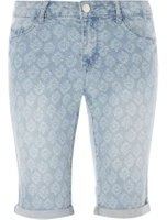 Dorothy Perkins Womens Printed Denim Knee Length Shorts- Blue
