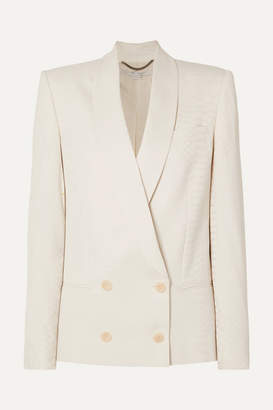 Stella McCartney Double-breasted Croc-effect Satin-jacquard Blazer - Ivory