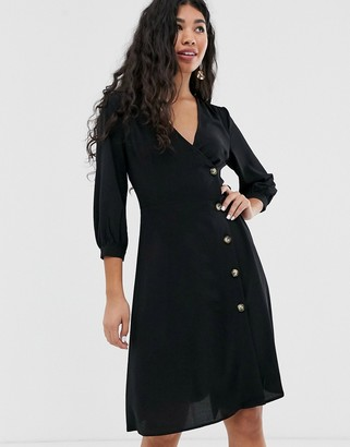 Brave Soul ahana wrap dress with button throuh detail-Black