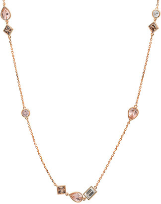 Crislu 18K Rose Gold & Silver Cz Necklace