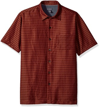 Van Heusen Men's Air Short Sleeve Button Down Poly Rayon Print Shirt
