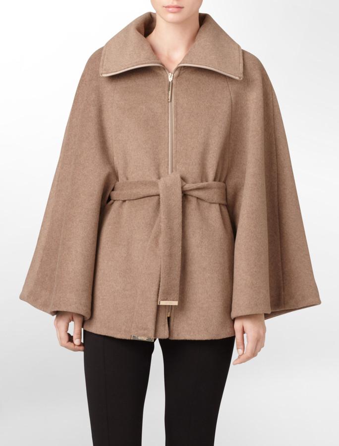 Calvin Klein Dusty Oat Belted Zip Front Cape