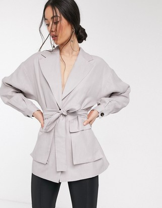 ASOS DESIGN long line utility blazer in dusty lilac