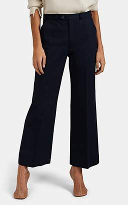 Maison Margiela Women's Cotton High-Rise Straight Trousers - Navy