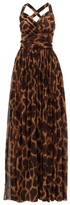 Dolce & Gabbana Giraffe-print Silk-georgette Dress - Womens - Brown