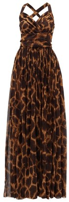 Dolce & Gabbana Giraffe-print Silk-georgette Dress - Brown