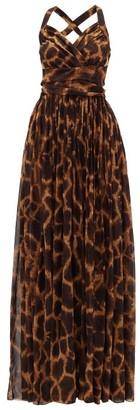 Dolce & Gabbana Giraffe-print Silk-georgette Dress - Womens - Brown