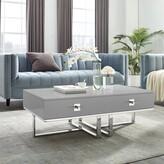 Nicole Miller Plumeria Cross Leg Coffee Table with Storage Color: Light Gray/Chrome