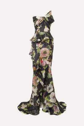 Marchesa Bow-embellished Floral-print Silk-blend Moire Gown - Black