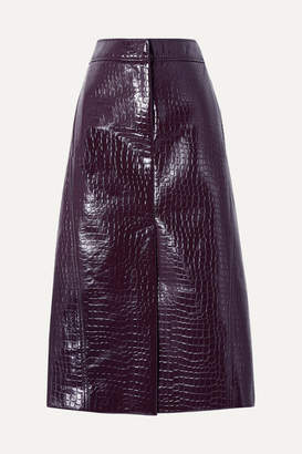 Tibi Croc-effect Faux Patent-leather Midi Skirt - Grape