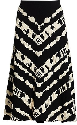 Proenza Schouler White Label Animal Jacquard Knit A-Line Skirt
