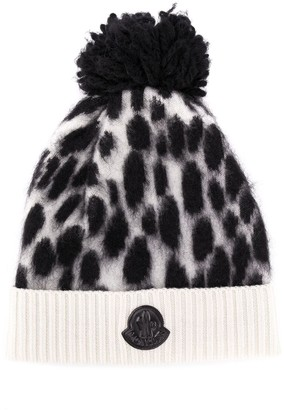 Moncler Enfant Animal Print Pom-Pom Hat