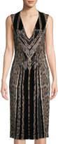 Roberto Cavalli Beaded Animal-Print Sheath Dress