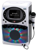 Karaoke Night CD+G Karaoke Machine with LED Light Show and Built-In Monitor - Gray (KN355)