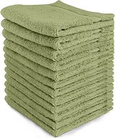 Ringspun Luxury Cotton Washcloths (12-Pack, Sage Green, 13x13 inches) - Easy Care, Cotton for Maximum Softness and Absorbency - by Utopia Towels
