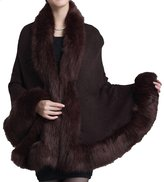 Helan Apparel Helan Women's Faux Fox Fur Shawl Cloak Cape Coat With Floral Beige