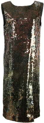 Halpern Sequin Embroidered V-Back Dress