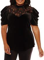 Bisou Bisou Long Sleeve Crew Neck Velvet Lace Blouse-Plus