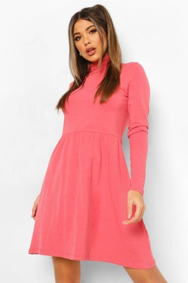 boohoo Roll Neck Long Sleeve Skater Dress