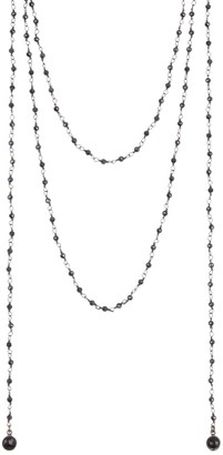 ADORNIA Sterling Silver Black Spinel Beaded Rosary Wrap Necklace