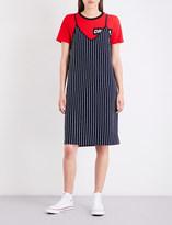 Izzue Striped cotton-jersey slip dress