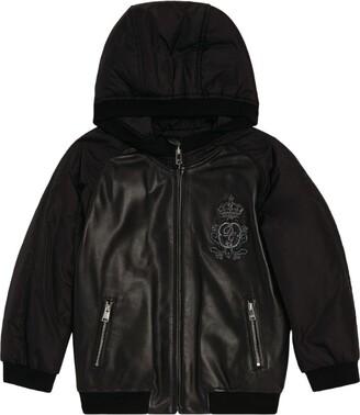 Dolce & Gabbana Kids Leather Panel Bomber Jacket