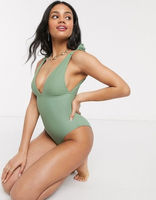 Pimkie plunge front swimsuit with tie detail in light khaki