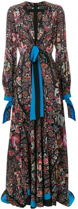 Etro Long Plunge Neck Dress