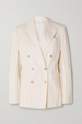 Brunello Cucinelli Double-breasted Pinstriped Cotton-blend Poplin Blazer - Ivory