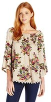 Eyeshadow Women's Smocked Circle Printed Knit Top