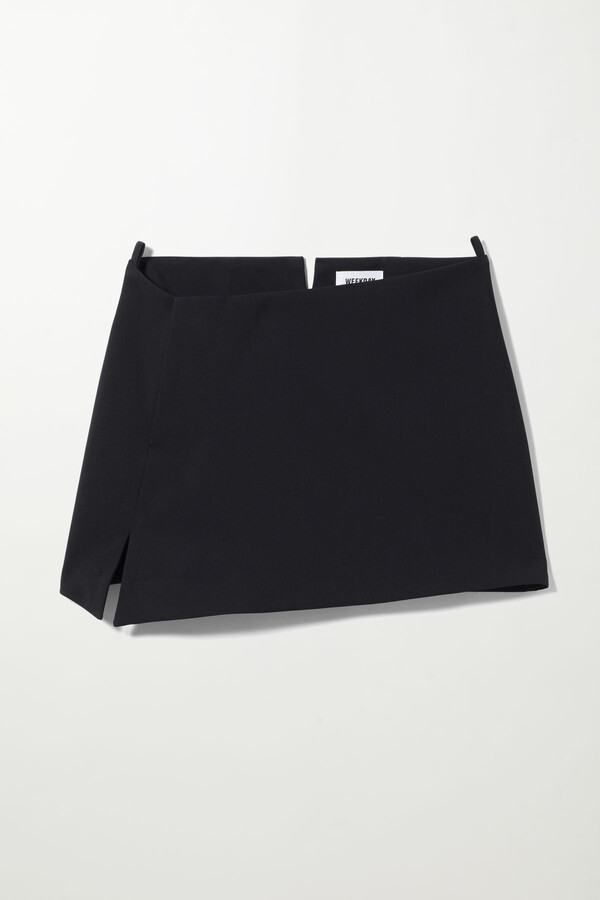 Weekday Sia Skew Mini Skirt - Black