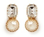 Miriam Haskell Large crystal Baroque pearl clip earrings