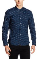 Pretty Green Men's Abbott Aop Long Sleeve Regular Fit Casual Shirt