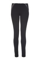 Quiz Black Lace Up Detail Jeggings
