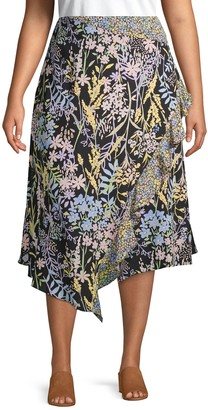 Calvin Klein Collection Plus Ruffled Floral Wrap Skirt