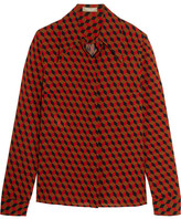 Michael Kors Printed Silk-crepe Shirt - Red
