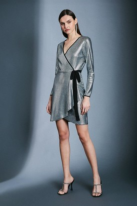 Karen Millen Silver Sequin Wrap Jersey Dress