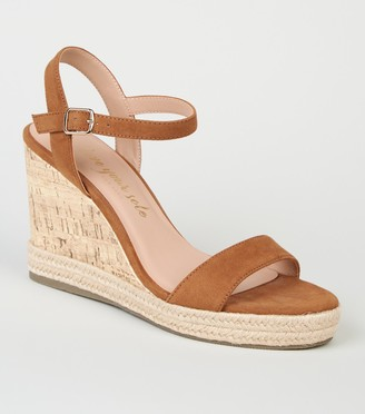 New Look Suedette 2 Part Cork Wedges