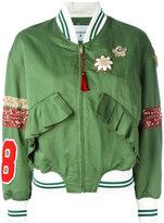 Dondup floral detail bomber jacket - women - Cotton/Linen/Flax/Spandex/Elastane/Cupro - 40