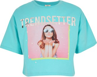 River Island Girls Blue 'Trendsetter' printed T-shirt