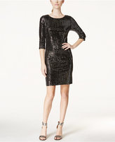 Jessica Howard Three-Quarter-Sleeve Sequin Sheath Dress