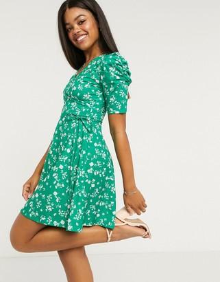 Lipsy puff sleeve wrap front mini tea dress in green spot print