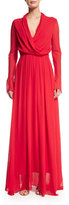 Camilla And Marc Long-Sleeve Blouson Crinkled Gown