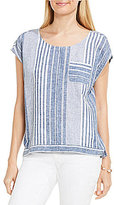 Vince Camuto Two By Variegated Stripe One Pocket Tee