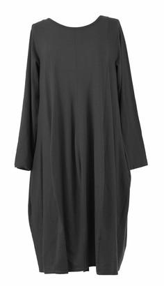 TEXTURE Ladies Womens Italian Lagenlook Plain Long Sleeve Side Ribbed Panel 2 Pocket Cotton Jersey Tulip Midi Dress One Size (Navy One Size)
